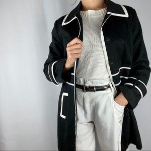 Carole Little black white mid length coat